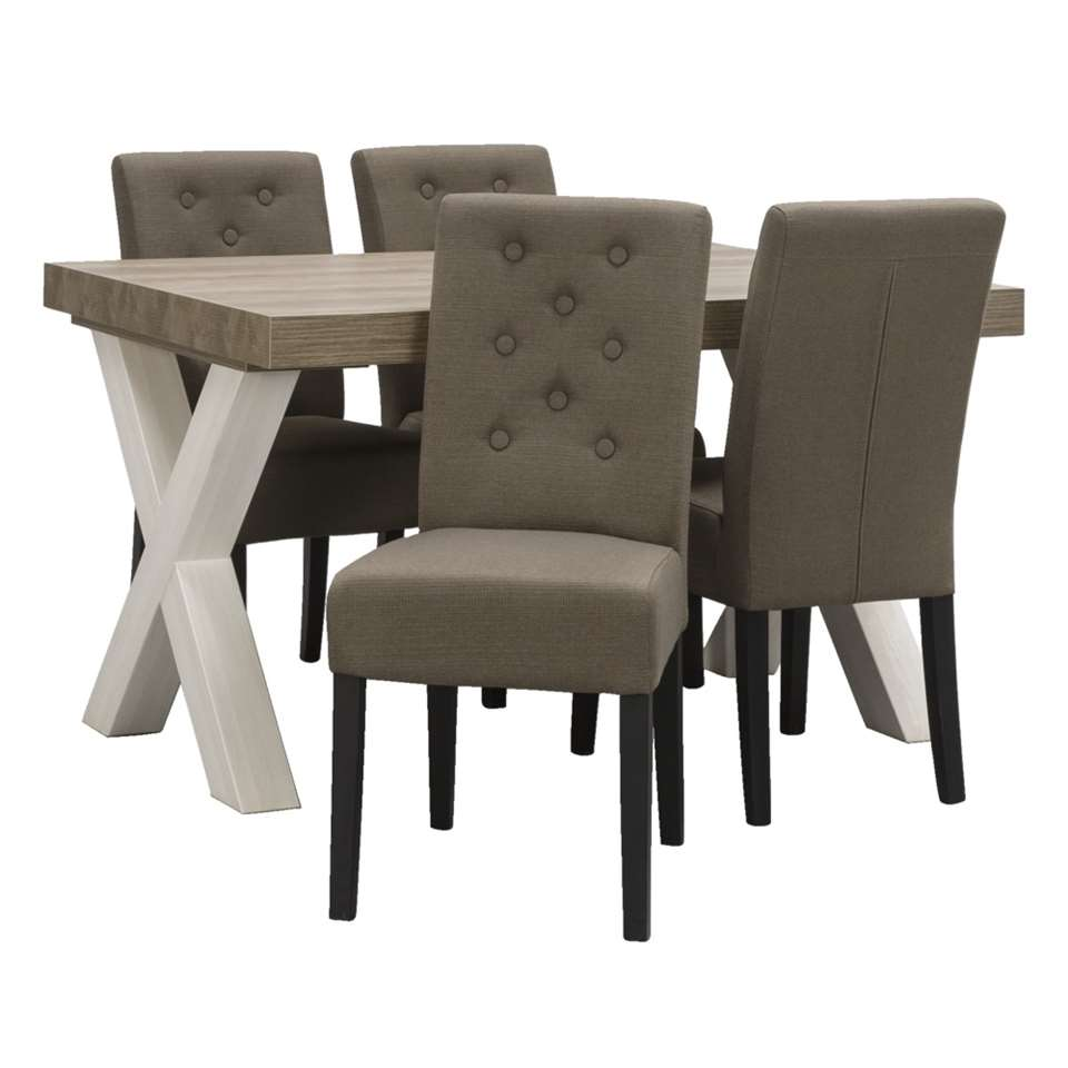 Eetkamertafel Lynn met 4 stoelen Annabel  mocca