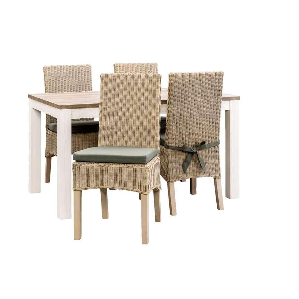 Eetkamertafel Lynn met 4 stoelen Dominique