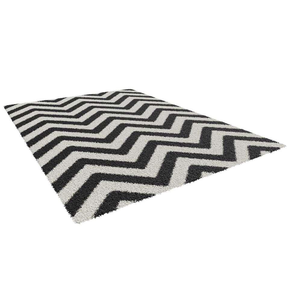 Vloerkleed Lauria zwartwit 160x230 cm