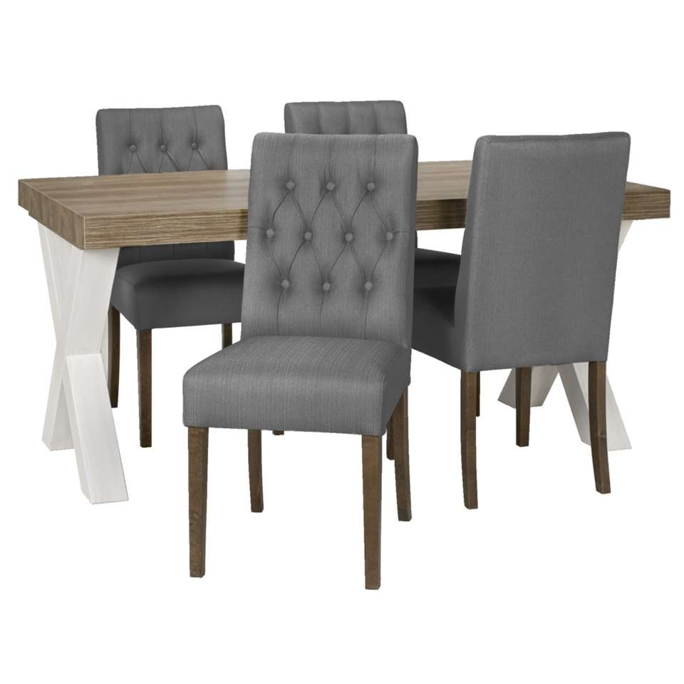 Eethoek Lynn Sinatra tafel met 4 stoelen  witantraciet