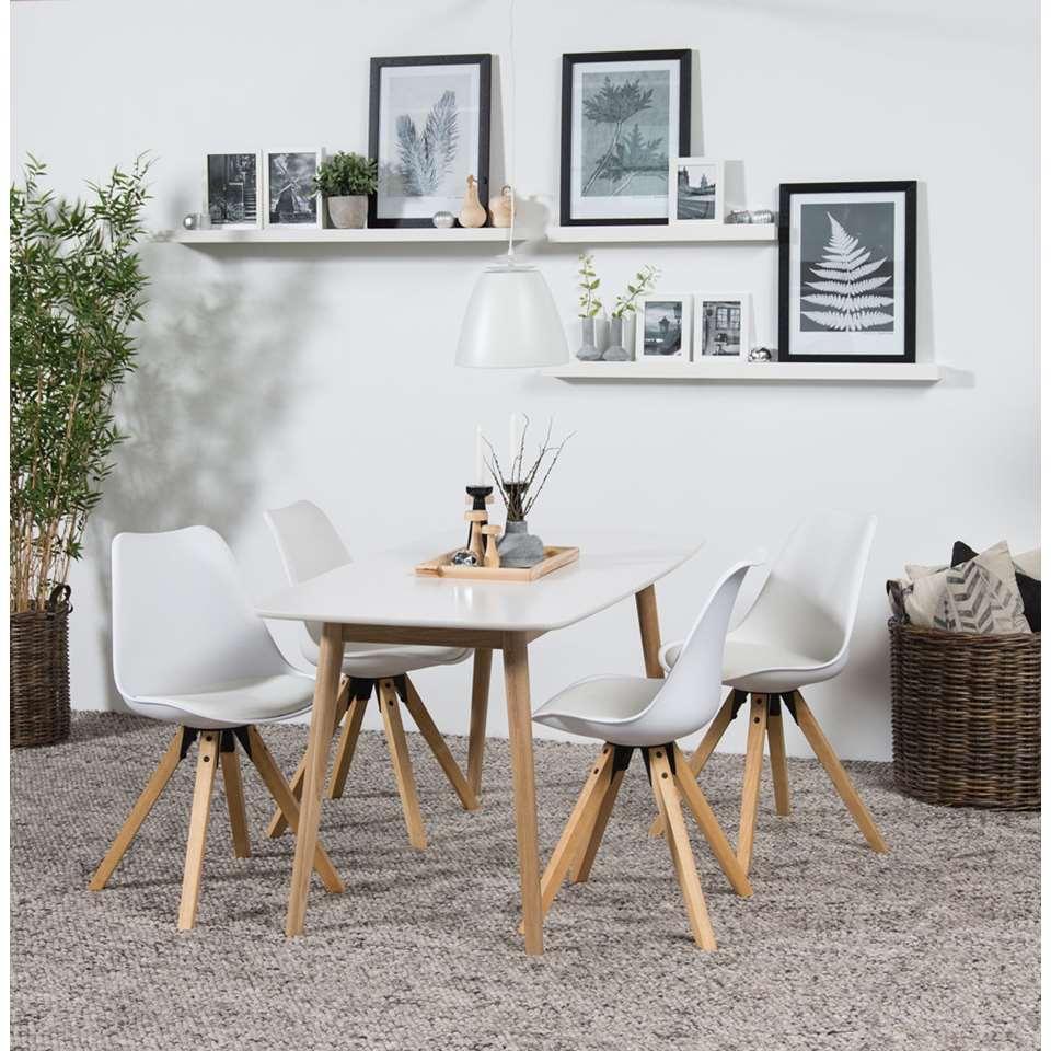 Eethoek Ulfborg Verdal tafel met 4 stoelen  wit