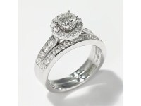 Leo Diamond Bridal Set|1 1/8 ct tw Round-Cut|14K White ...