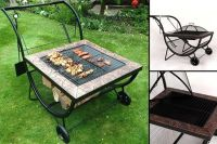 2-in-1 Outdoor Fire Pit & Barbeque Cart | Shopping ...