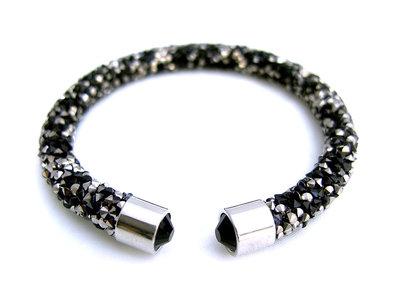 Crystaldust dames armband  zwart  zilver  Lunamex Jewelry  Watches