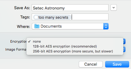 Choose an encryption level