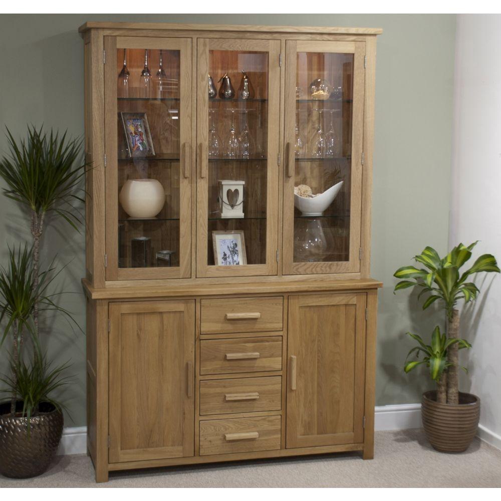opus solid oak large glazed dresser