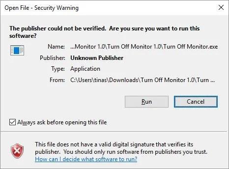 Открыть файл - окно предупреждения безопасности