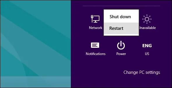 Restart Windows 8 - The Internet Tips