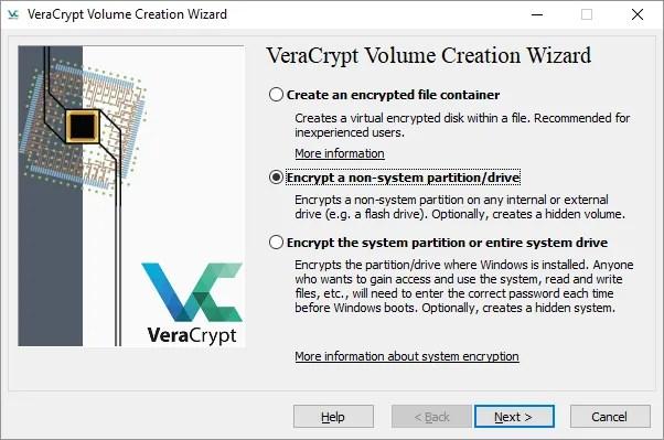 VeraCrypt Encrypt Partition o Drive