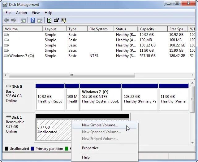 Управление дисками Windows Новый простой том