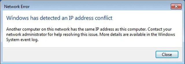 окна сообщения об ошибке конфликта IP