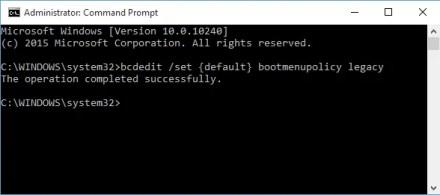 Windows 10 Command Prompt BCDEdit