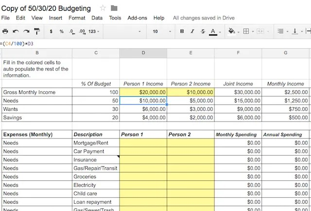budget generator based on income - April.onthemarch.co