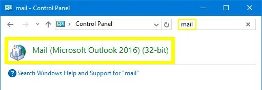 Searching for the Mail App in Windows 10
