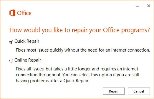 Quick Repair Wizard for Microsoft Office