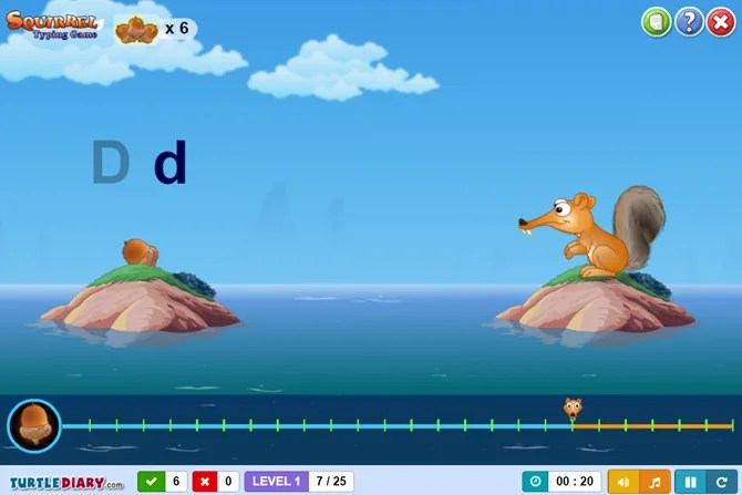 TurtleDiary SquirrelTyping web - 10 Sites and Games to Teach Kids Typing the Fun Way
