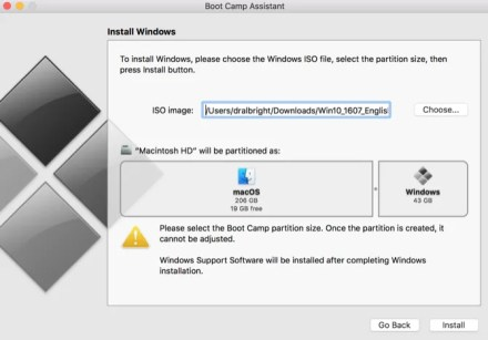 Boot Camp installation window setting partition size for Windows and Mac