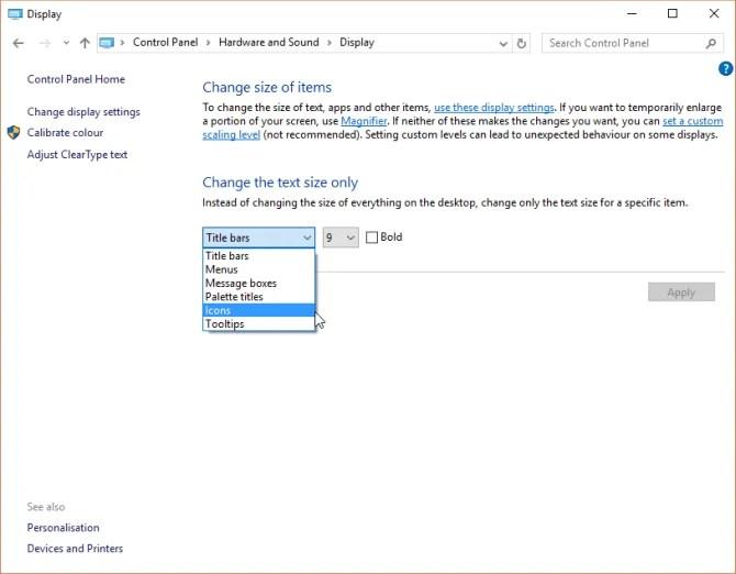 options d'affichage du panneau de configuration de windows 10