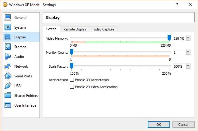 xp mode video memory