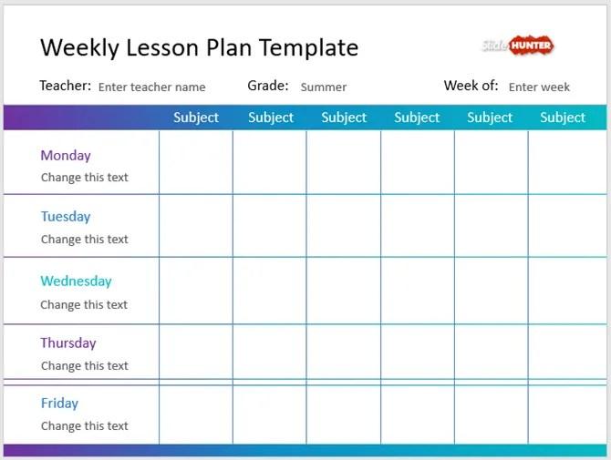 шаблон плана PowerPoint на неделю