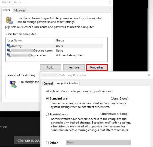 Панель учетных записей Windows