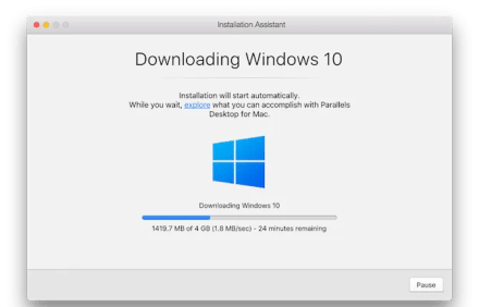 Parallels installation on a Mac downloading Windows 10