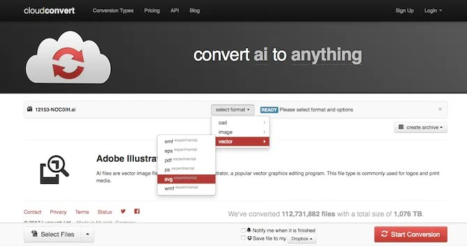 Use CloudConvert to convert AI files