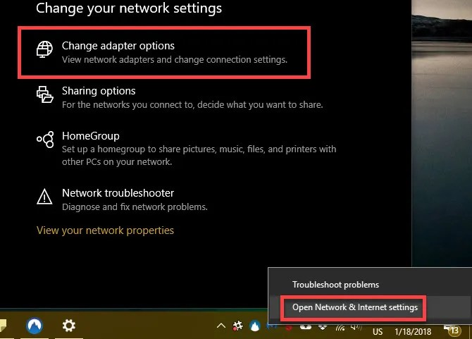 Windows 10 change network adapter options - The Internet Tips