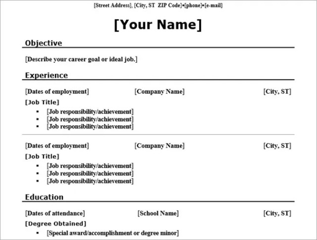 microsoft word resume templates - chronological traditional
