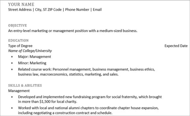 microsoft word resume templates - recent graduate