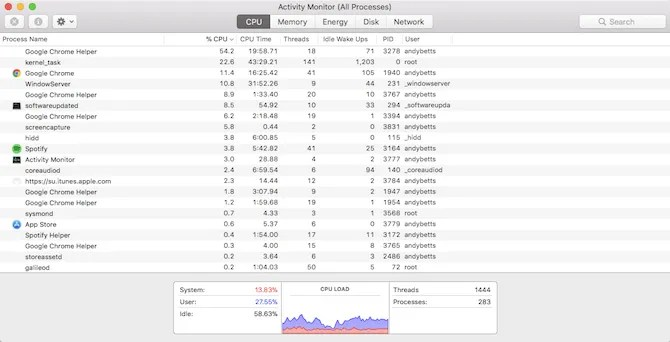 Mac Activity Monitor - wifi speed test