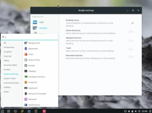 Budgie system settings