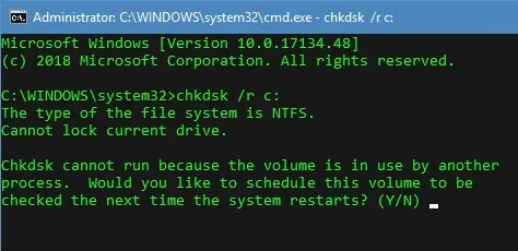 Chkdsk Reboot message