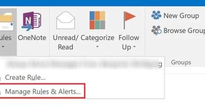 Outlook Управление правилами и оповещениями