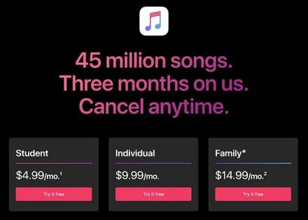 apple music subscription options