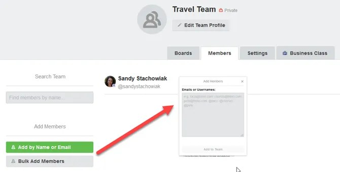 TrelloTrip AddTeamMembers - How to Plan Your Next Vacation or Business Trip Using Trello