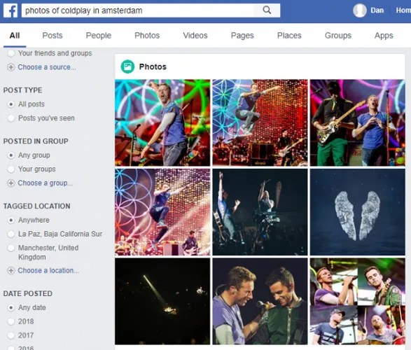 facebook coldplay 587x500 - 7 Facebook Search Tips to Find What You're Looking For