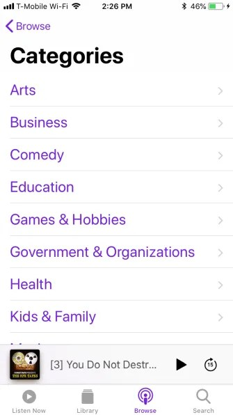 podcast categories 335x596 - A Guide to the (Surprisingly Excellent) iPhone Podcasts App
