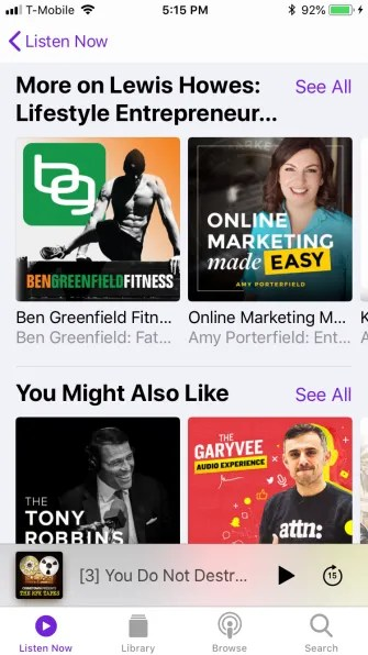 podcast listen now bottom 1 335x596 - A Guide to the (Surprisingly Excellent) iPhone Podcasts App