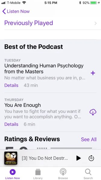 podcast listen now previously played 335x596 - A Guide to the (Surprisingly Excellent) iPhone Podcasts App