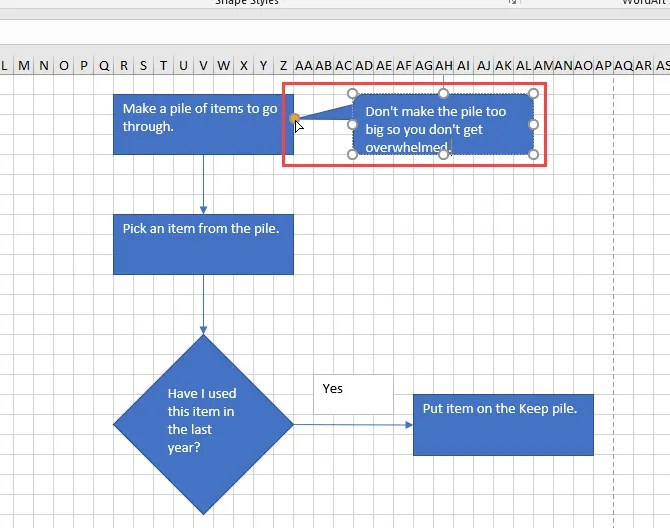 Draw a callout in Excel