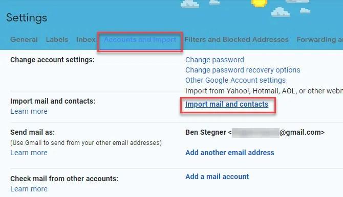 Gmail Импорт аккаунта