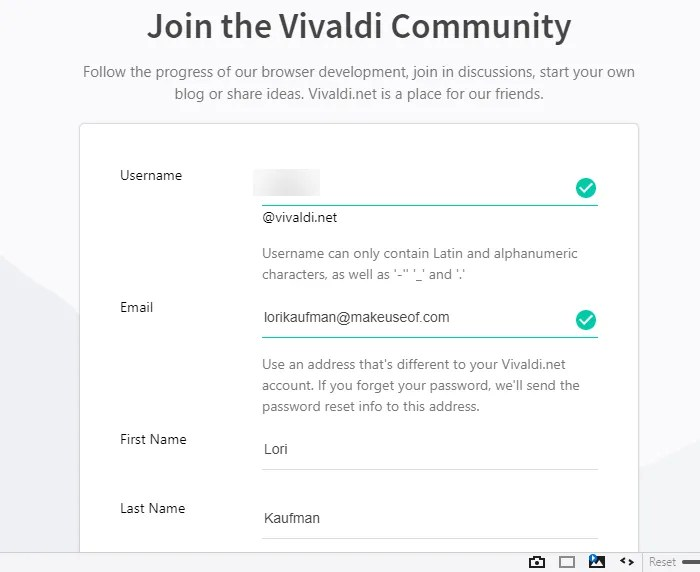 Sign up for a Vivaldi.net account