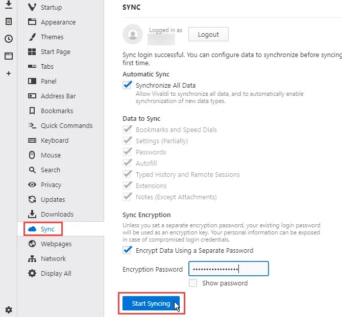Click Start Syncing on Sync settings page in Vivaldi