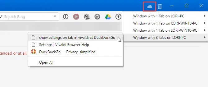 Open a tab from another computer in Vivaldi