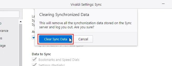 Clearing Synchronized Data dialog box in Vivaldi