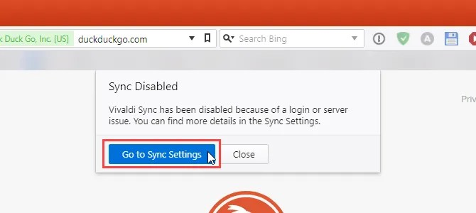 Sync Disabled in Vivaldi on another computer