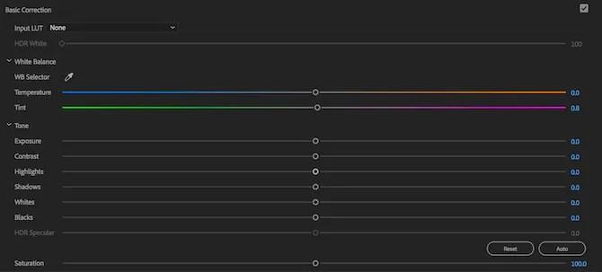 Premiere Pro Lumetri Color Basic Correction tools