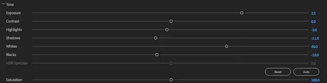 Premiere Pro Lumetri tone sliders