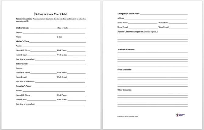 Information Sheet Templates Information Sheet Templates - Customer information form template word